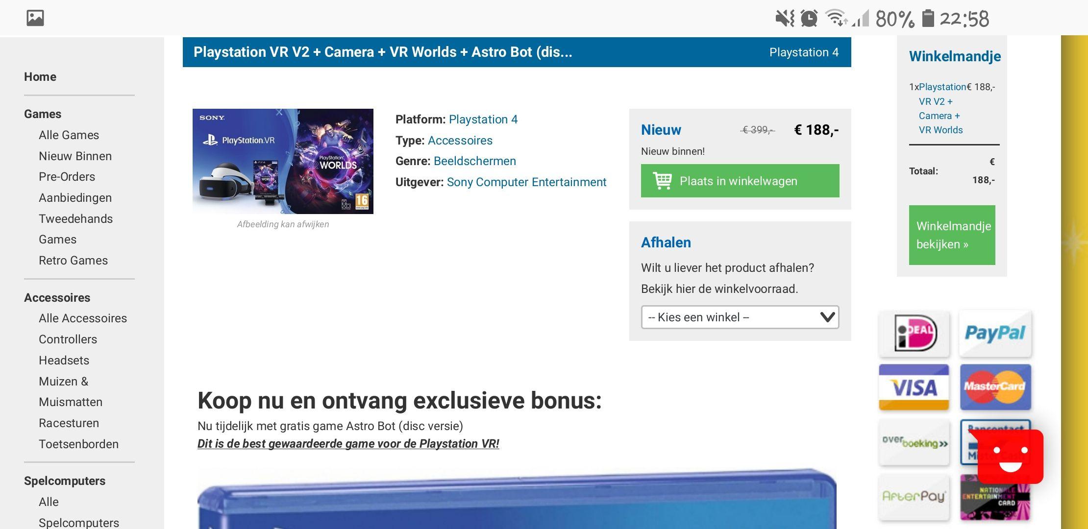 Playstation VR V2 + Camera + VR Worlds + Astro Bot (disc versie)