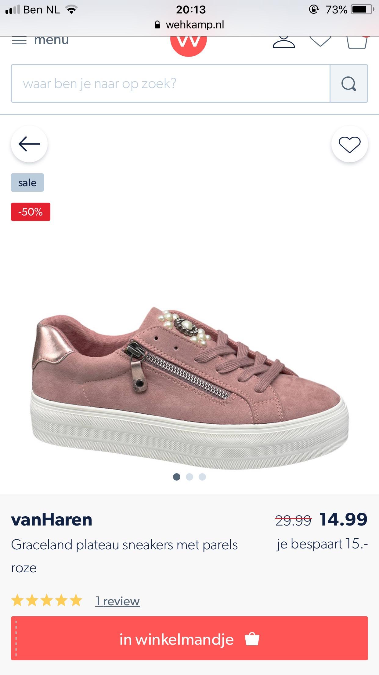 Van Haren dames sneakers parels 75% korting