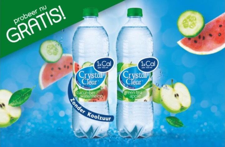 Gratis Cristal Clear 1L Komkommer/Watermeloen of Groene Thee/Appel