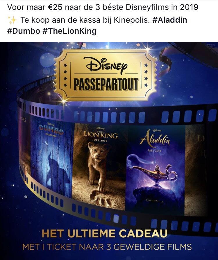 [Kinepolis NL] voor €25 naar Aladdin, Dumbo en The Lion King in de bioscoop