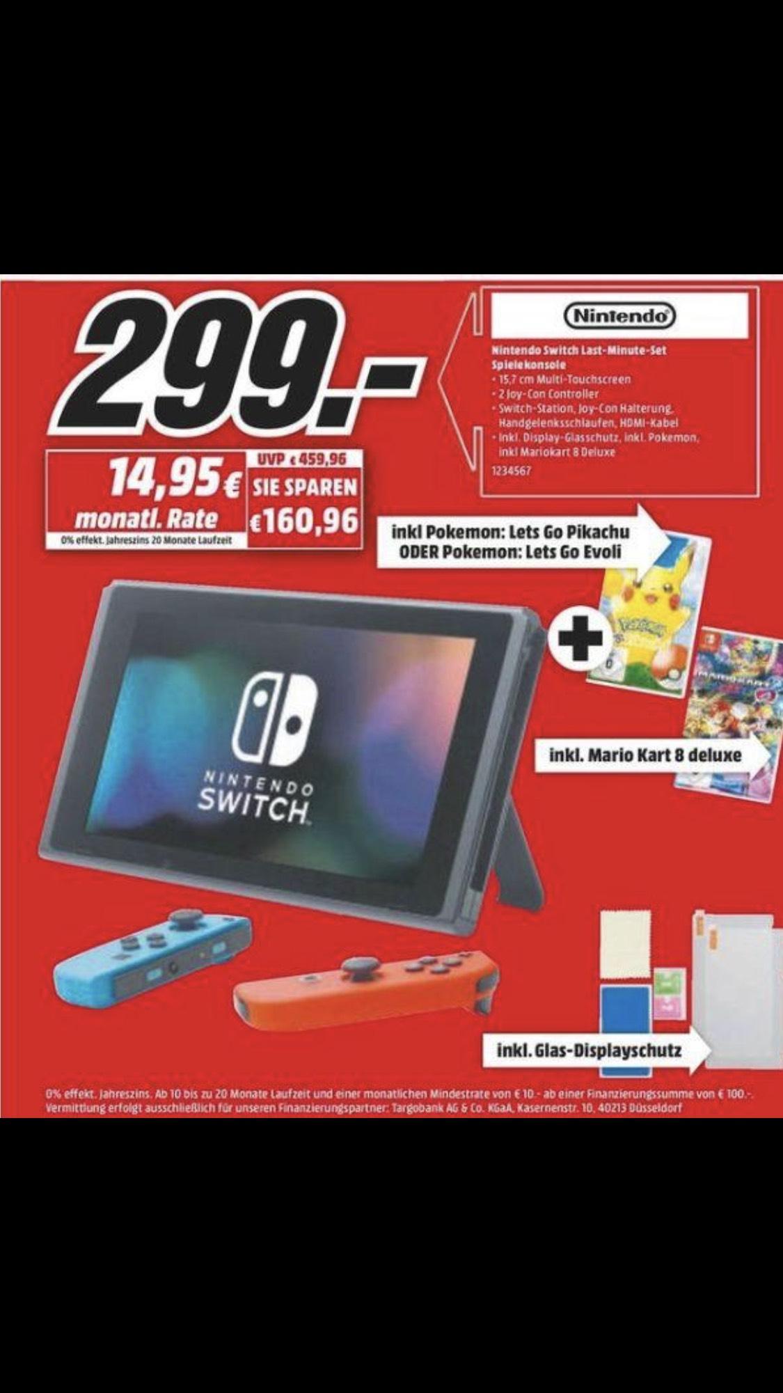 [DE][Mediamarkt Aachen/Herzogenrath] Nintendo Switch + Mario Kart 8 Deluxe + Pokémon Lets go Pickachu of Eevee voor €299,-