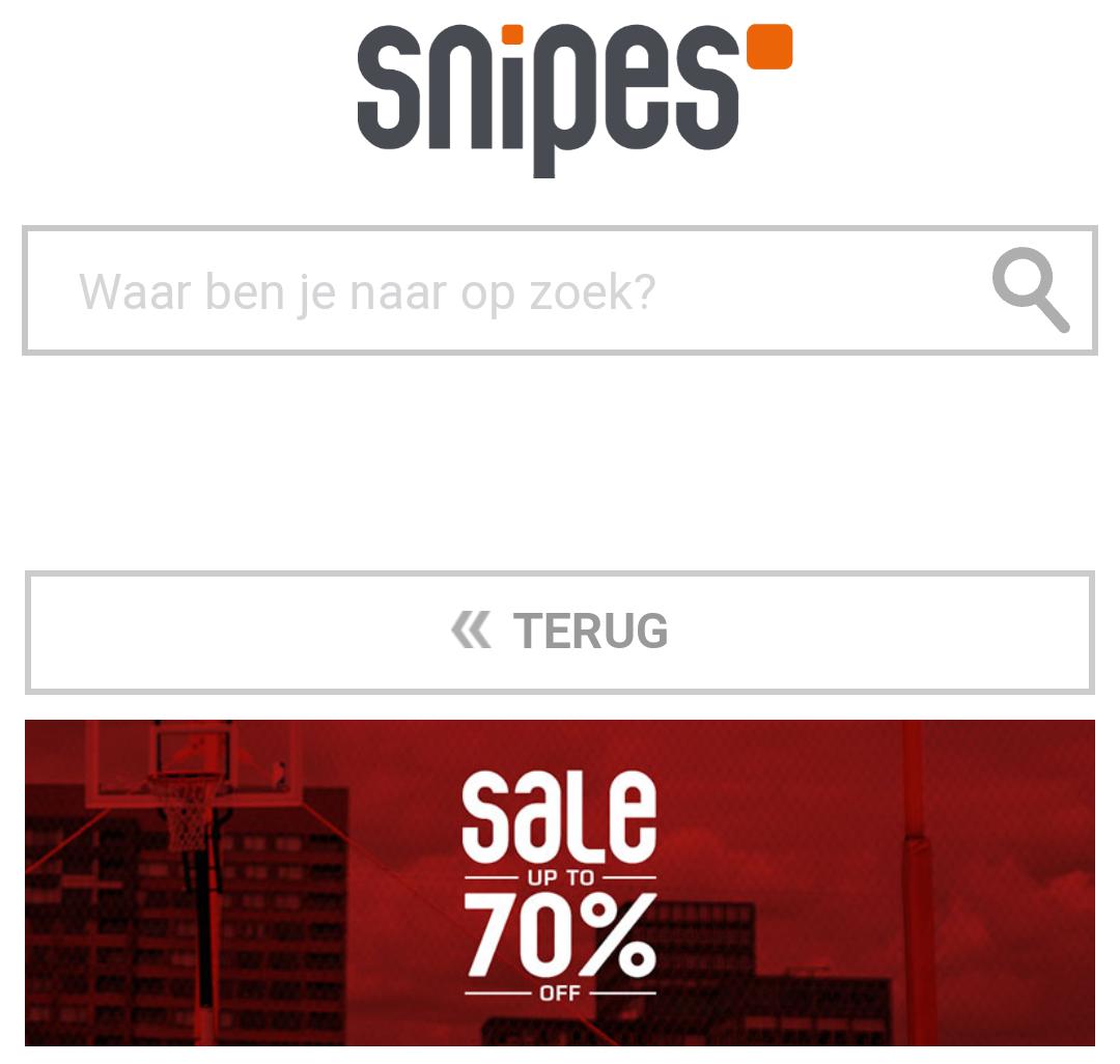 Tot 70% korting op snipes.nl