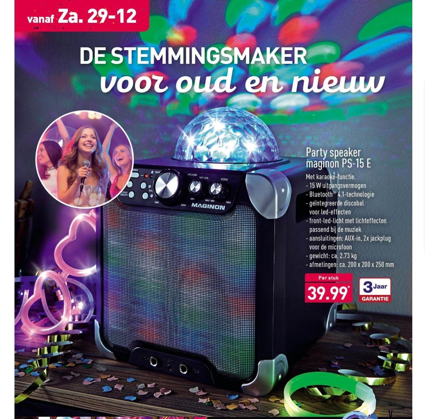 Maginon PS-15 E Party speaker met verlichting en karaoke voor €39,99 @ Aldi