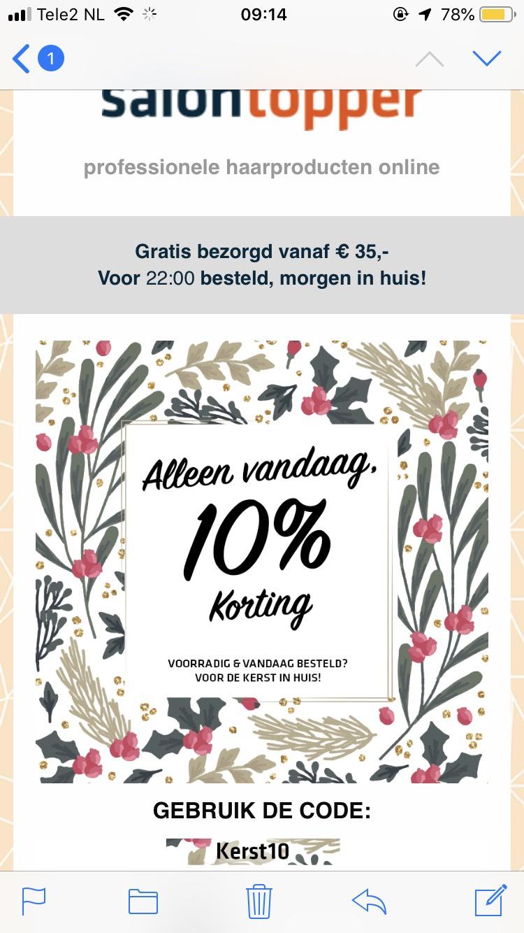 10% korting op ALLES bij Salontopper.nl