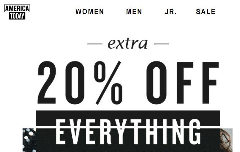 Actie: alles 20% korting - ook sale (tot -70%) @ America Today