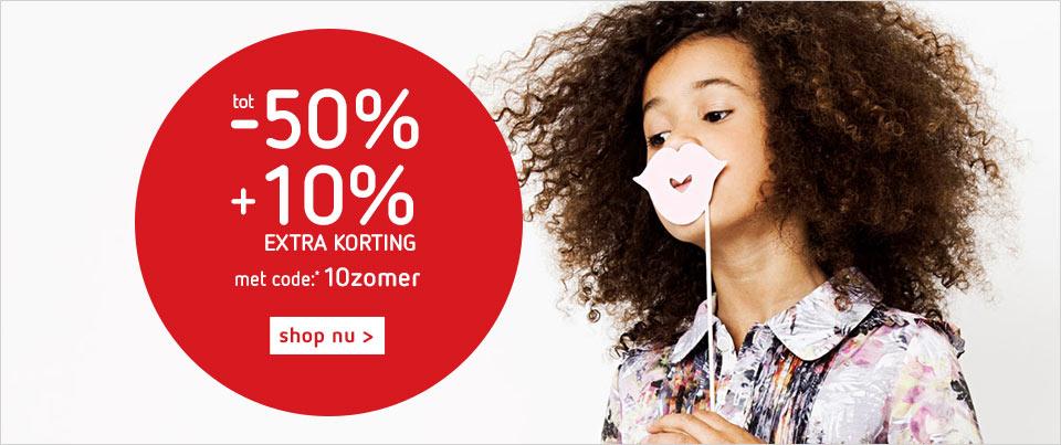 Tot 50% korting + 10 % korting met actiecode @ kleertjes.com