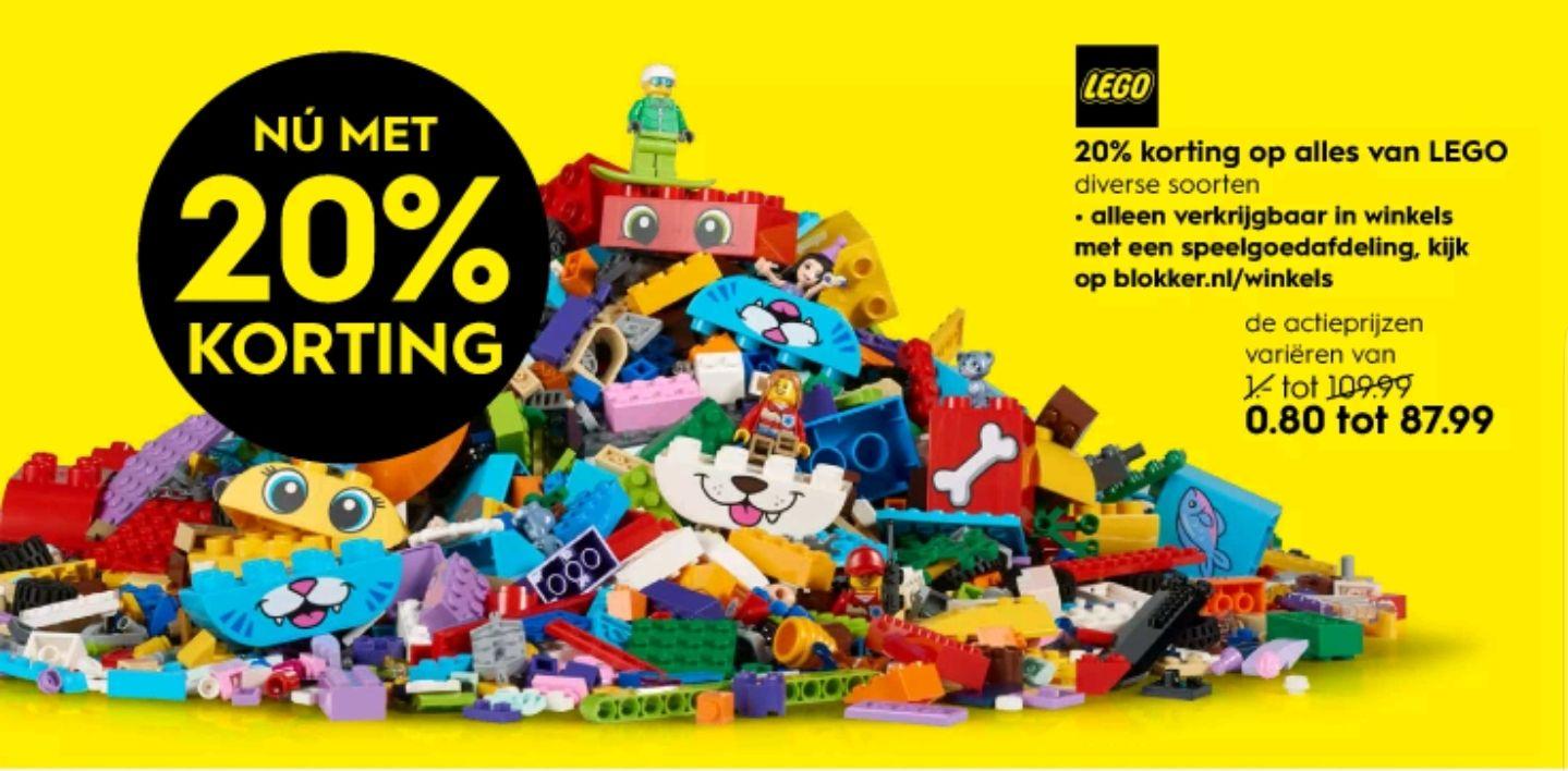 20% korting op alles van LEGO