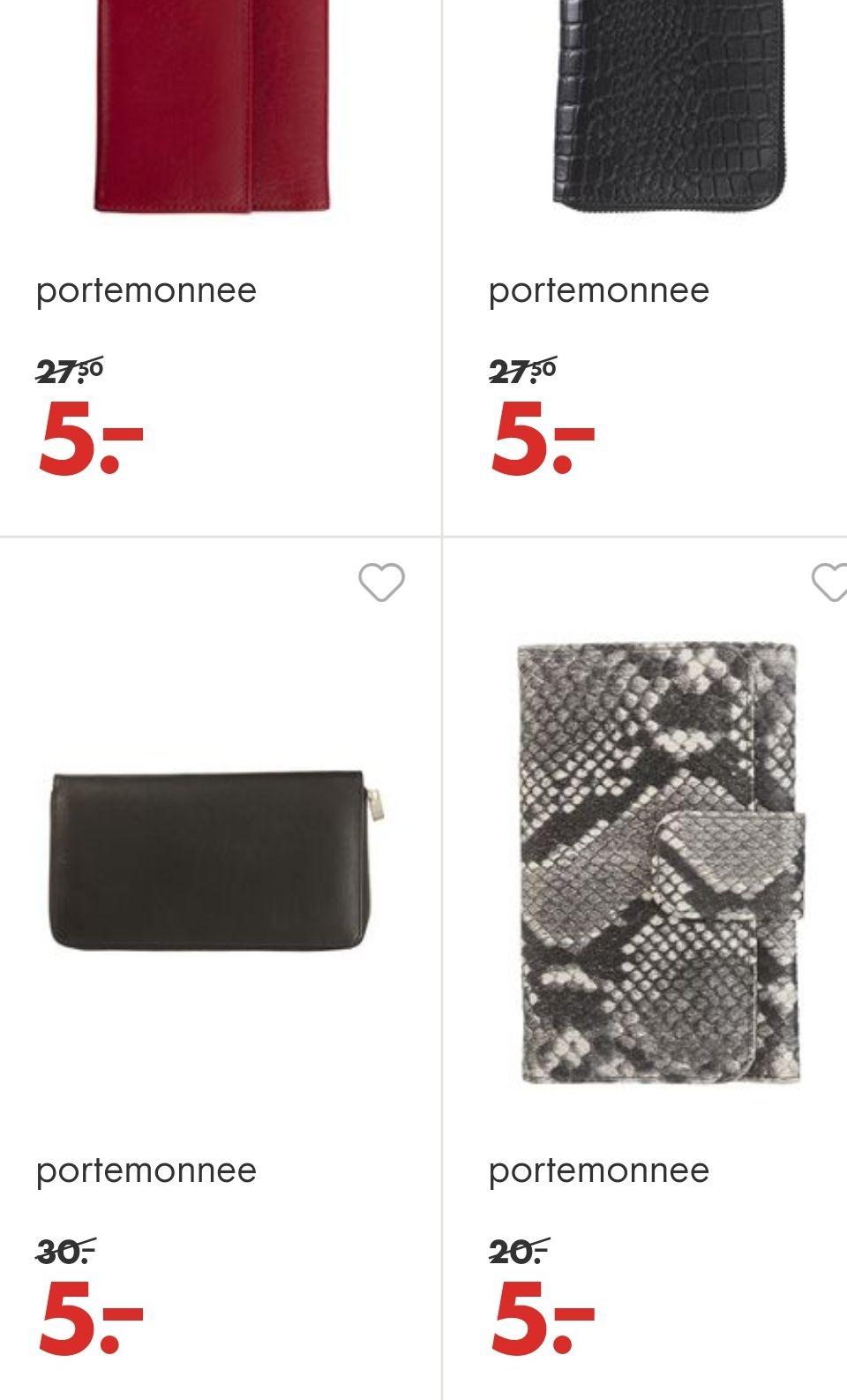Verschillende portomonee's bij Hema (afgeprijsd van €30,-/€27,50/€25,-/€20,-)
