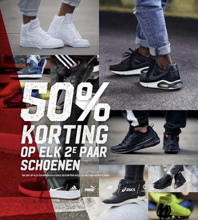 2e paar schoenen 50% korting