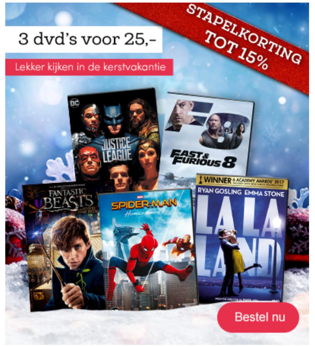 3 DVD's voor €25 bij bookspot