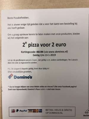 2e pizza voor 2 euro - Dominos