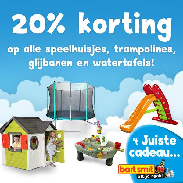 20% korting op alle speelhuisjes, trampolines, glijbanen en watertafels @ Bart Smit