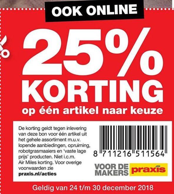 25% Korting op één artikel naar keuze | + online @Praxis