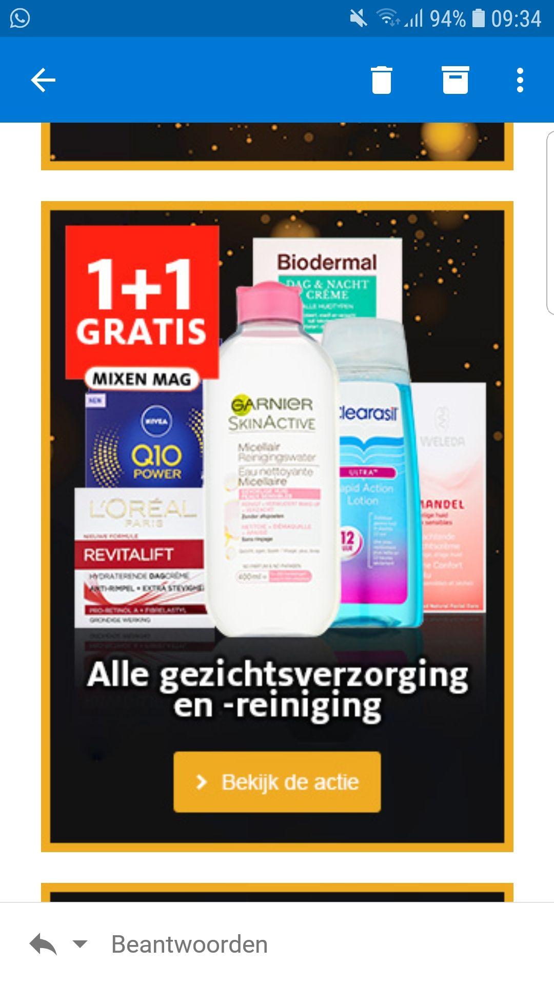 Etos weekendactie : 1 + 1 gratis op alle gezichtsverzorging en -reiniging