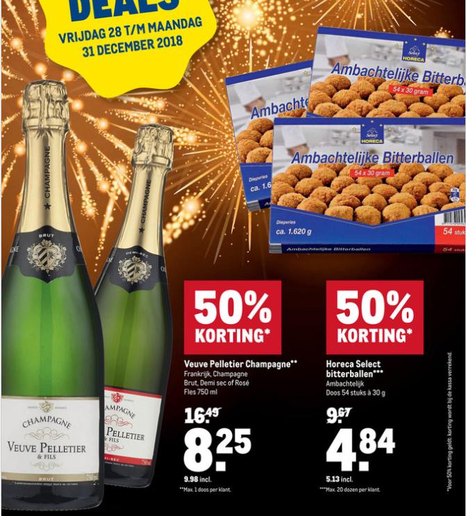 Fles Champagne Veuve Pelletier 10 eur. -50%. (of 54x bitterballen 5,13eur). Makro.