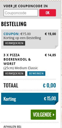 €15 korting bij Domino's Pizza