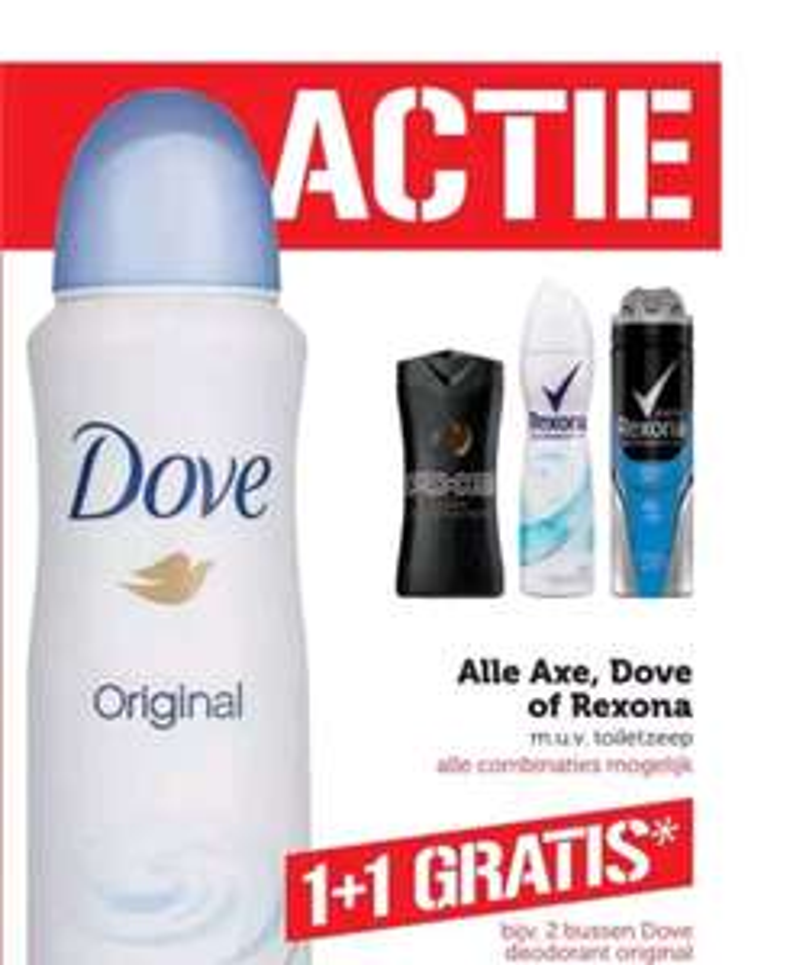 Alle Axe, Dove of Rexona Deo 1+1 gratis bij de COOP