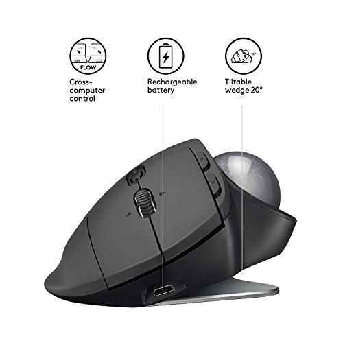 Logitech MX Ergo Geavanceerde draadloze trackball/muis, geschikt voor pc, Mac en Windows