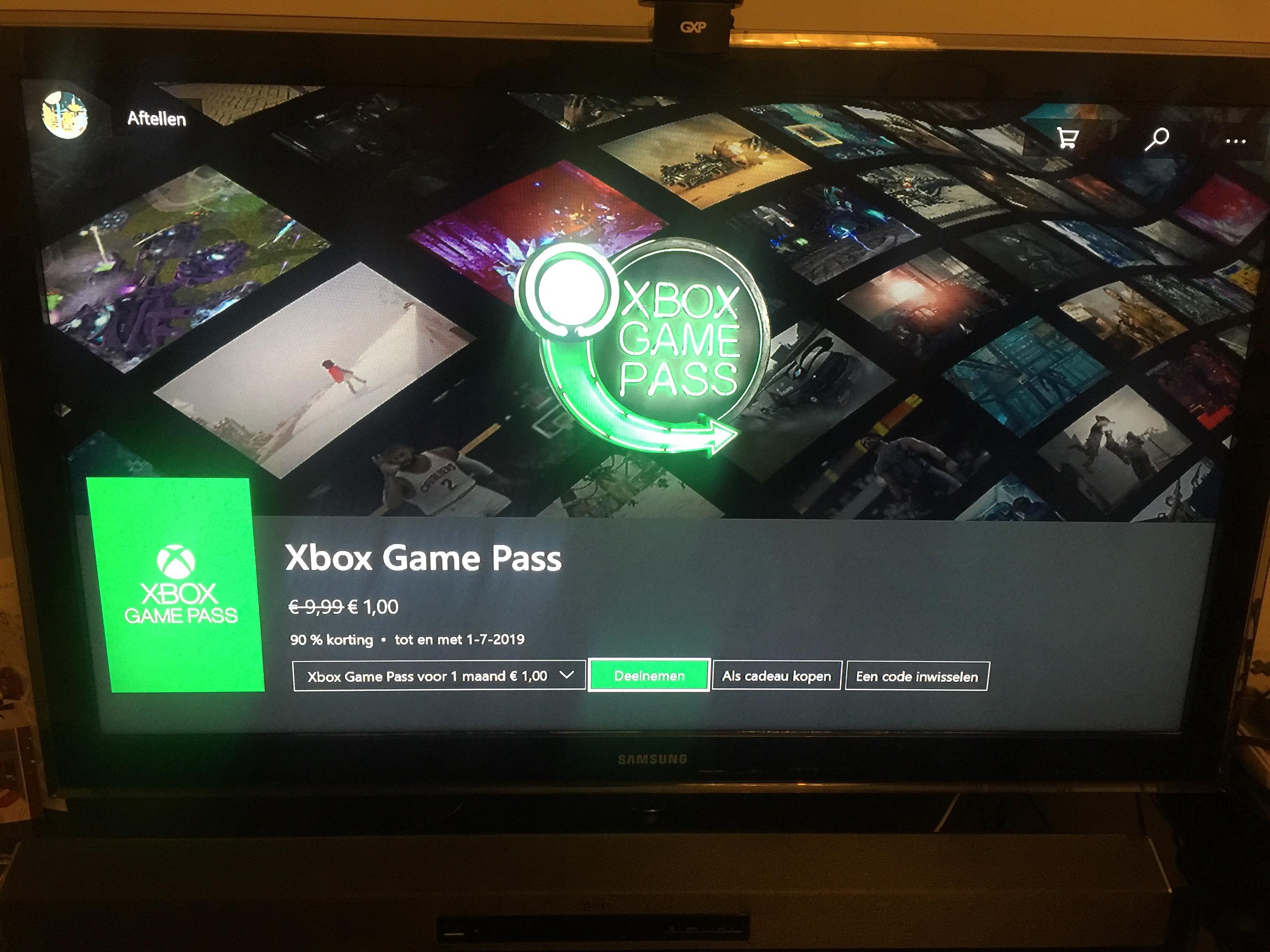 Xbox Game Pass eerste maand €1,-