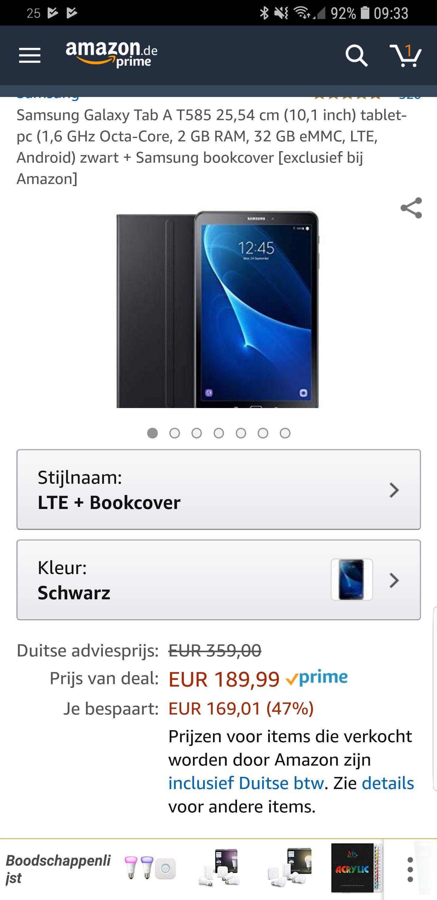 Samsung Galaxy tab A 10.1 wifi+3g/4g incl cover