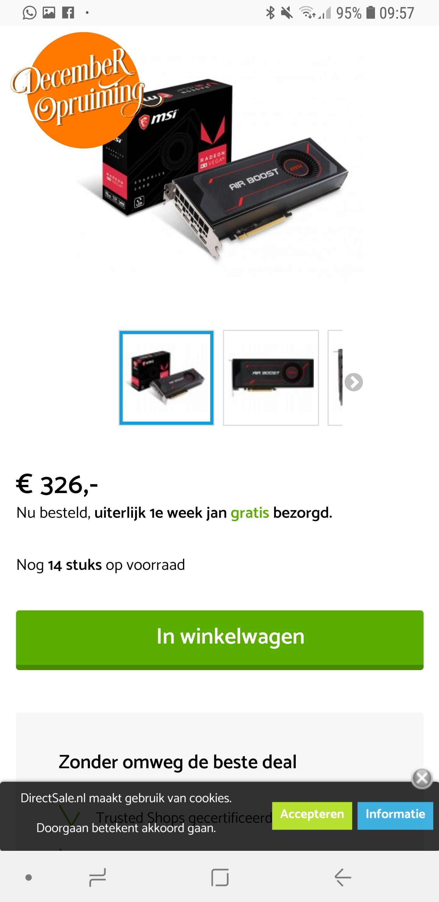 MSI radeon RX Vega 56 air boost 8G OC Videokaart