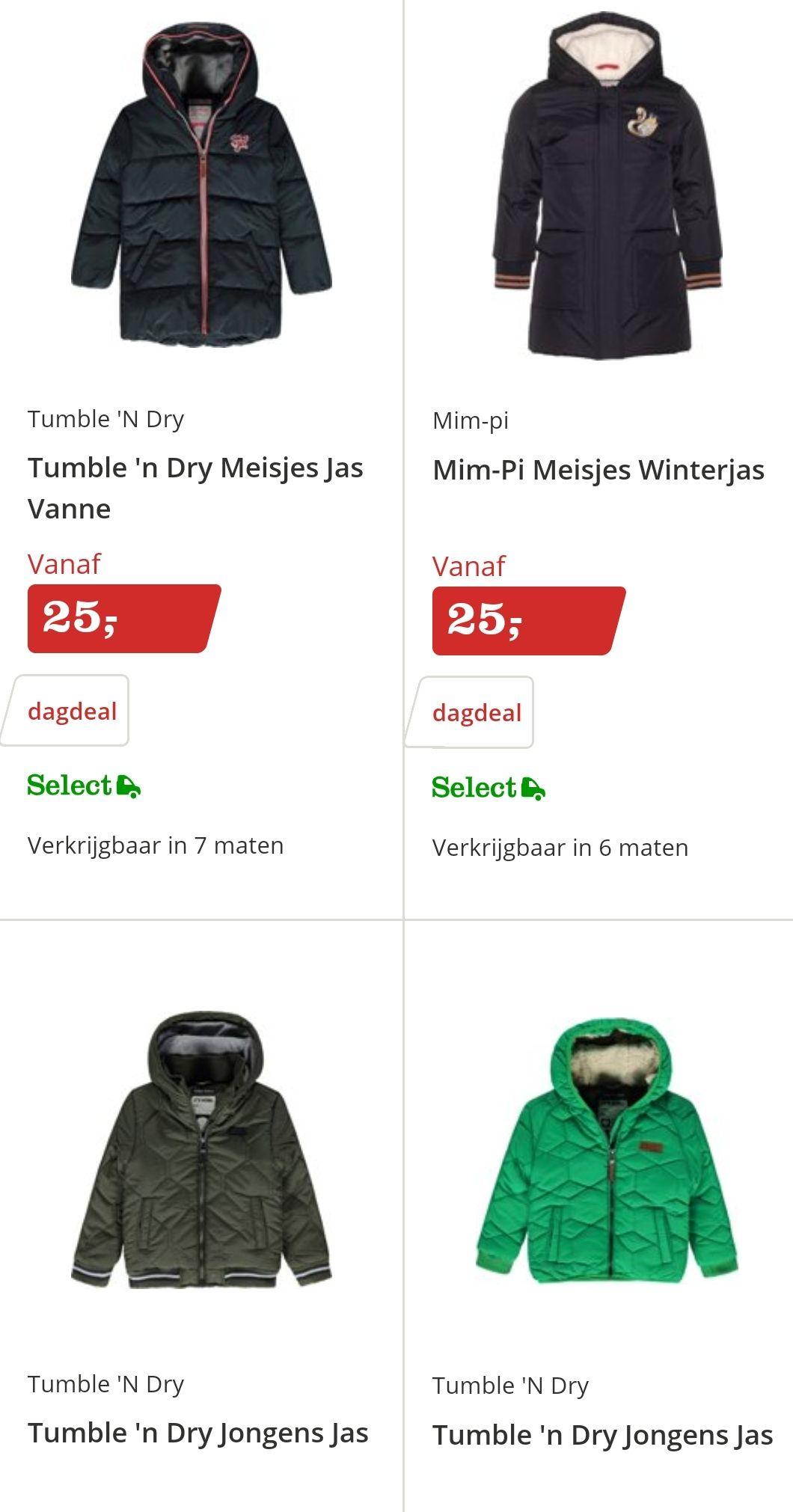 Kinder winterjassen voor €25,- bij Bol.com en gratis verzending (dagdeal)
