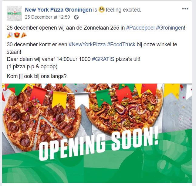 New York Pizza Paddepoel (Groningen) deelt 1000 Pizza's uit 30dec 14:00