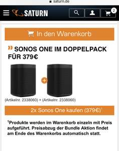 2x sonos One (Grensdeal)