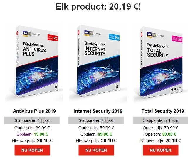 Blijf veilig in 2019 met Bitdefender, elk product: € 20.19!