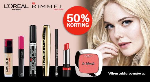 50% korting op Rimmel en L'oreal Make Up