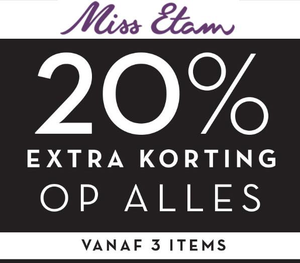 Actie: 20% extra korting (min 3 artikelen) @ Miss Etam