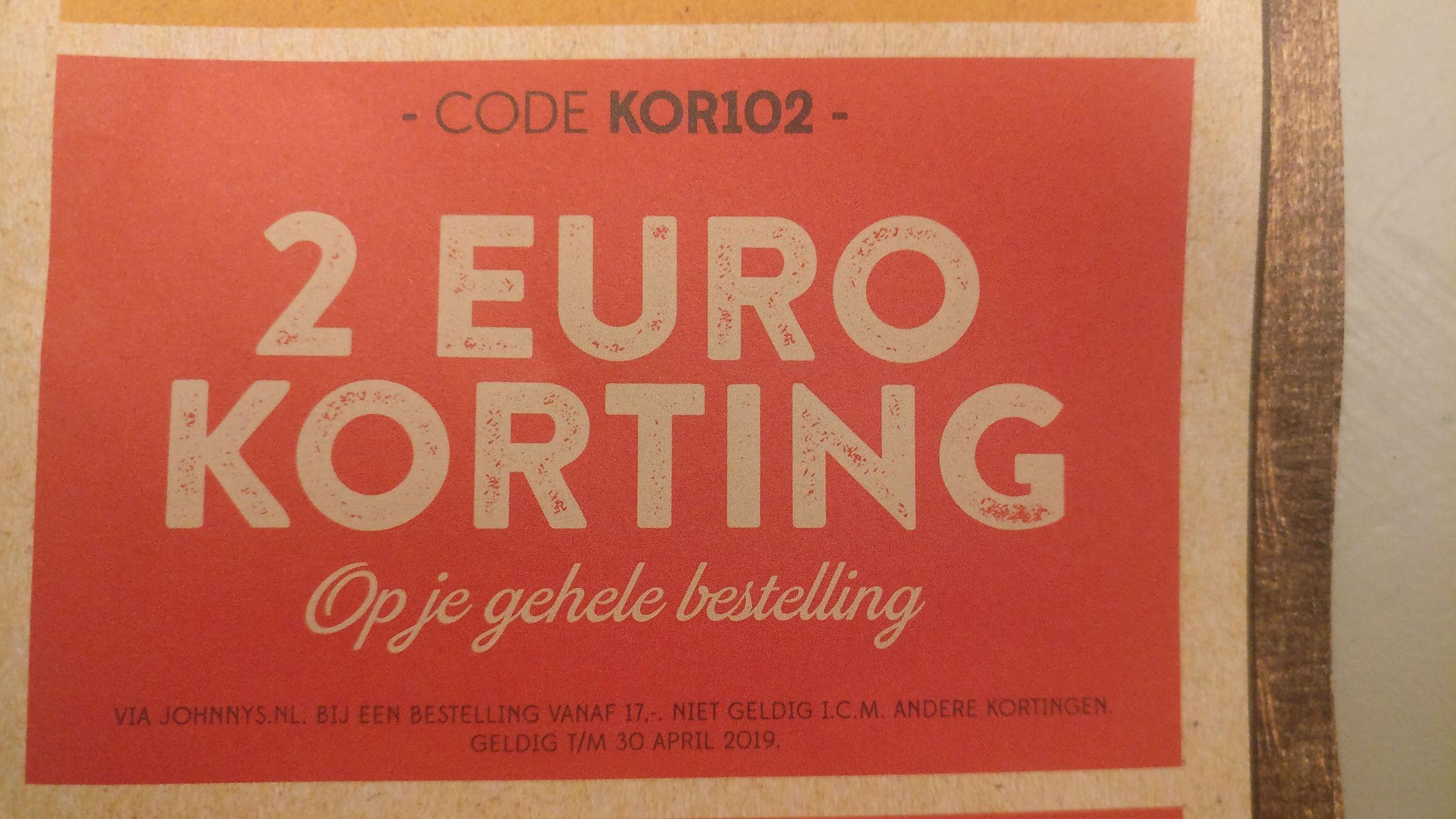 Johnnys burger - 2 euro korting op gehele bestelling