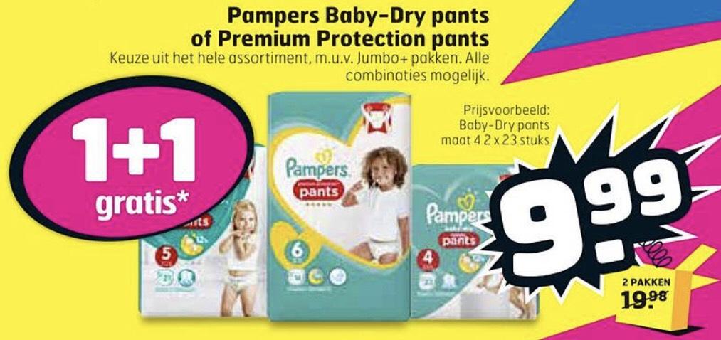 O.a. Pampers Baby Dry en Premium Protection Pants 1+1 Gratis @Trekpleister
