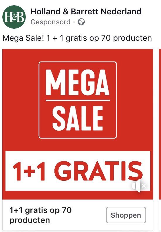 Holland & Barrett 1+1 gratis op 70 producten