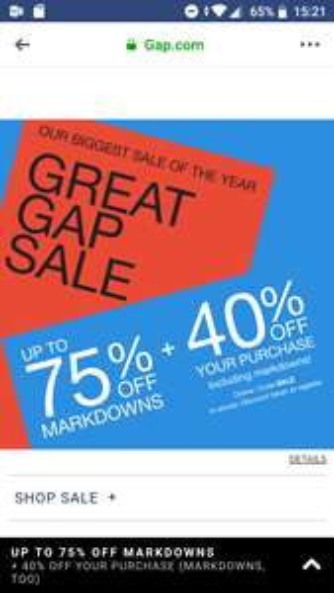 GAP 40% korting op sale