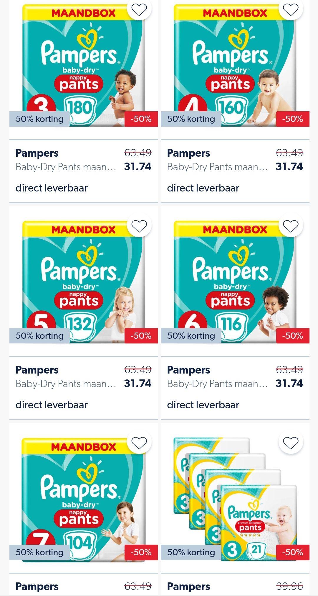 Pampers Premium protection en pants! Verschillende maten voor 50% @Wehkamp