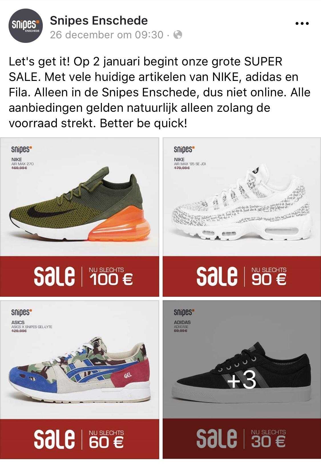 [lokale deal] super sale bij Snipes Enschede (v.a. 2 jan)