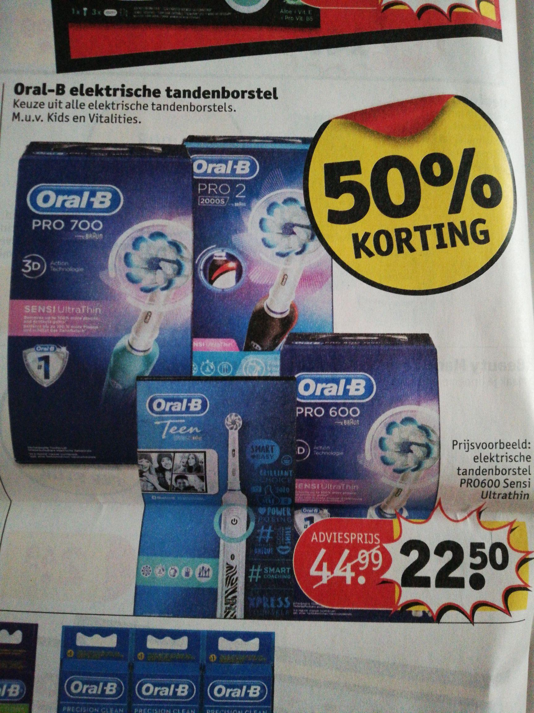50% korting op alle* Oral-B elektrische tandenborstels @kruidvat