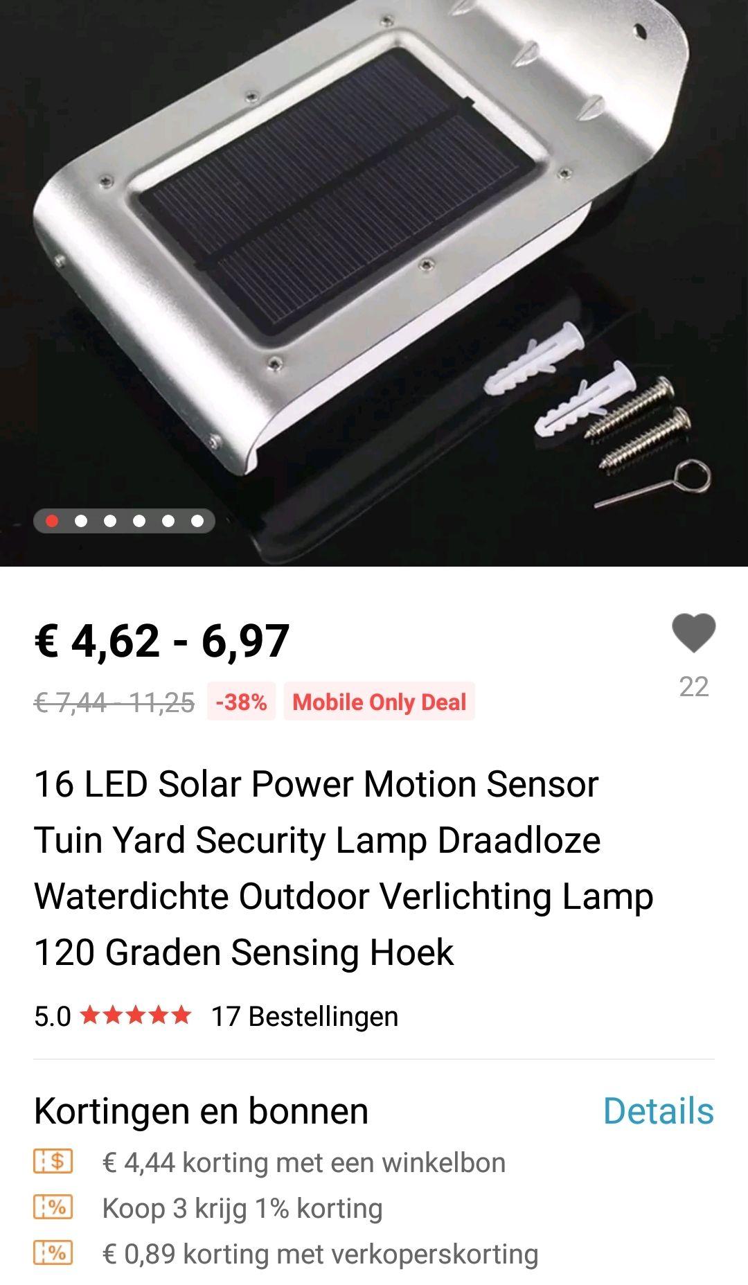 Ali-express mobile deal: Eco buitenlamp 16led met sensor op zonne-energie