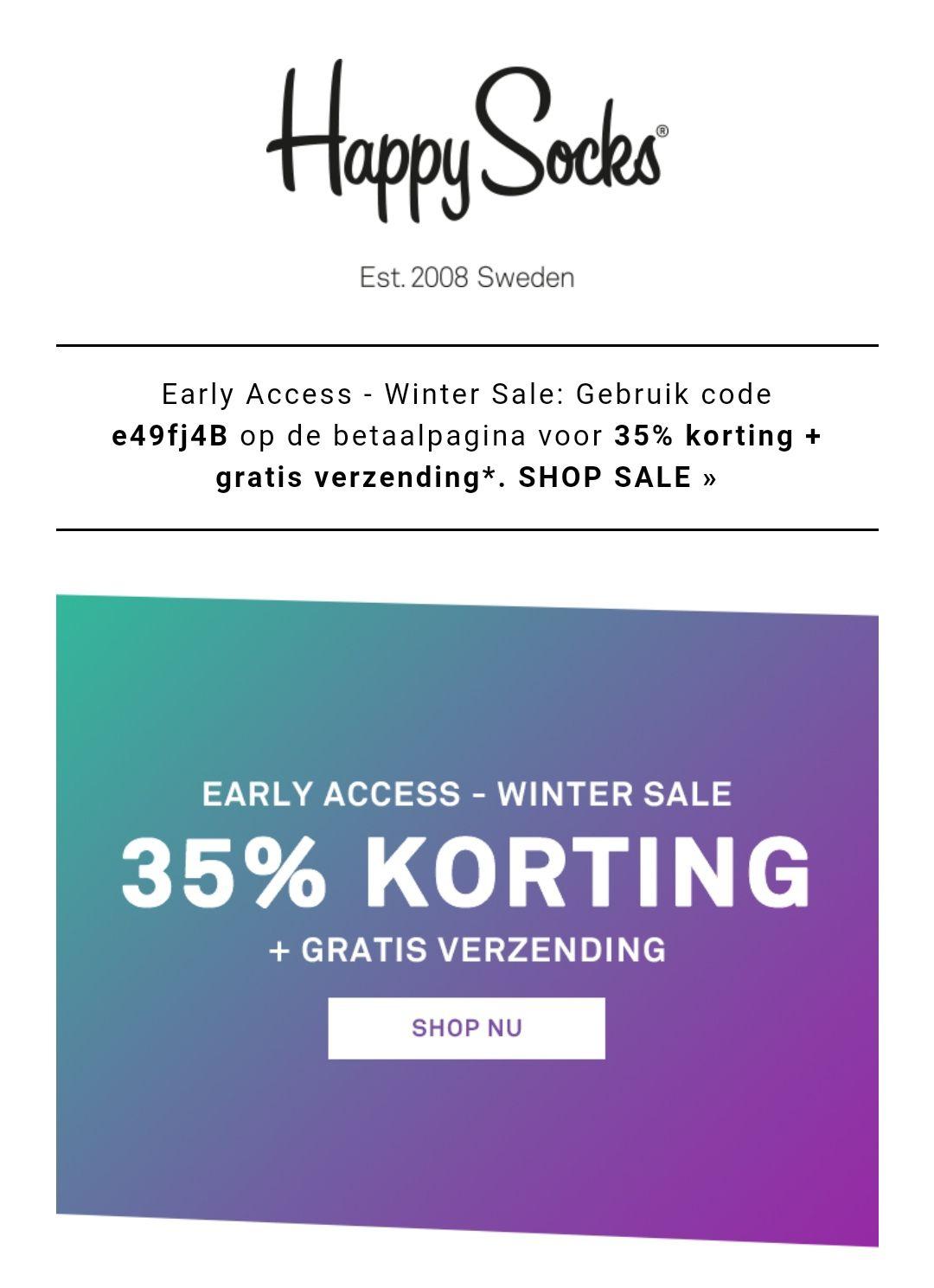 Happy Socks 35% korting + gratis verzenden
