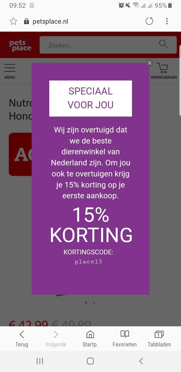 3 kortingscodes 15% korting + 10% korting + 5 euro @ Pets Place stappelbaar