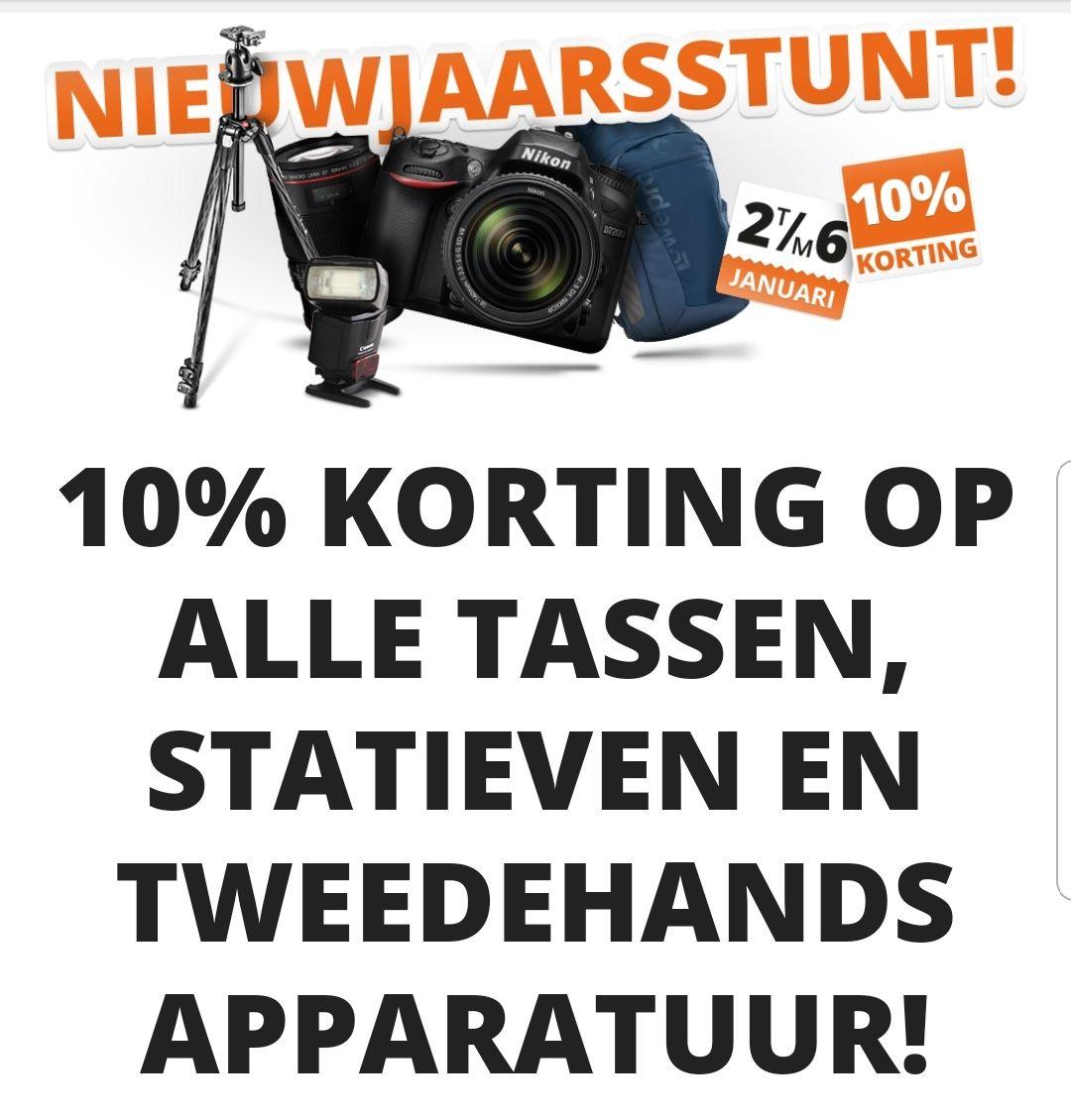 Nieuwjaarsactie: 10% korting op álle tassen, statieven en tweedehands apparatuur! @Cameraland