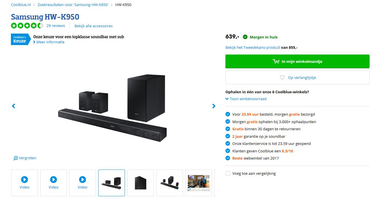 Samsung HW-K950 - Dolby Atmos - Soundbar bij @Coolblue