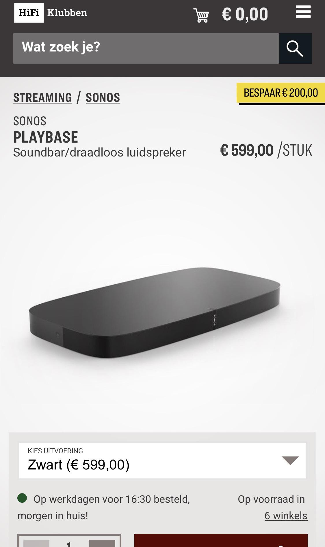 Sonos Playbase voor maar €599,-