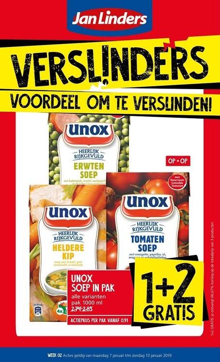 Jan Linders: Unox soep in pak 1+2 gratis (+ heel veel 1+1 gratis aanbiedingen)