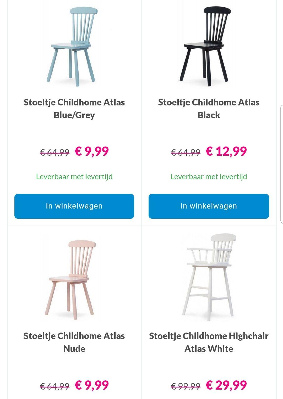 Childhome Atlas stoeltjes met hoge korting bij Van Asten Babysuperstore (van €64,99 voor €9,99/van €99,99 voor €29,99)