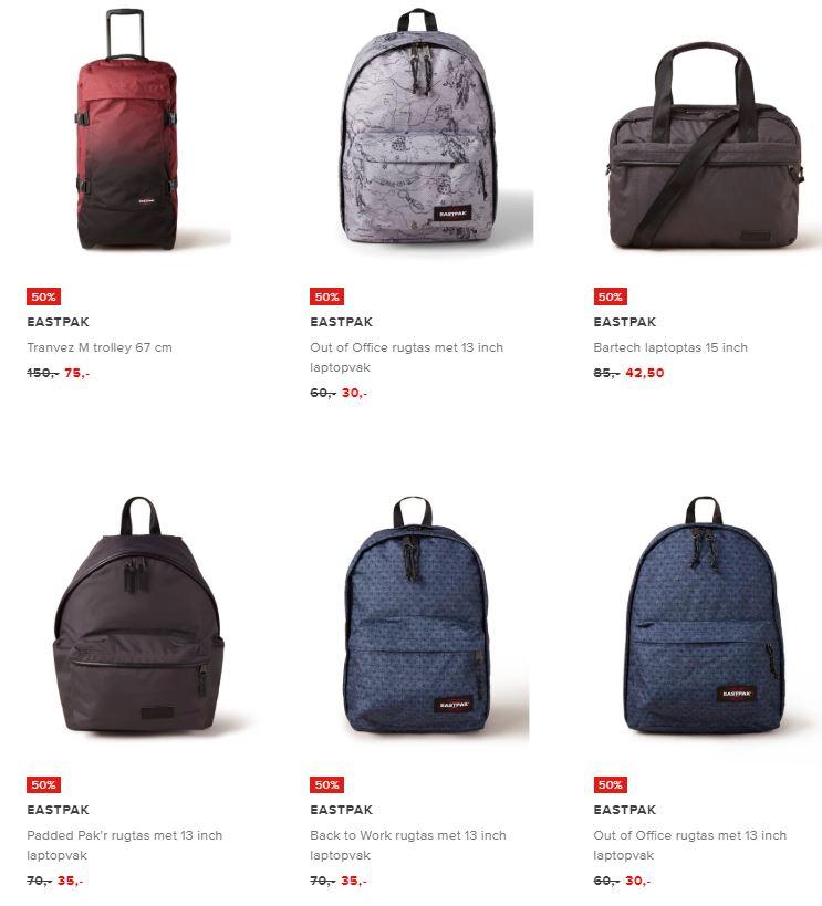 Eastpak tassen en koffers -50% + 10% EXTRA @ De Bijenkorf