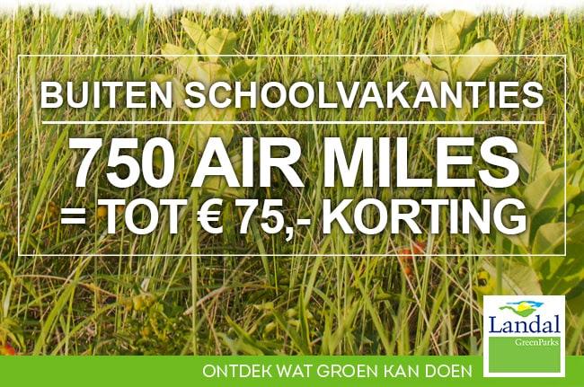 Tot € 75,- korting bij Landal bij inlevering van 750 Air Miles