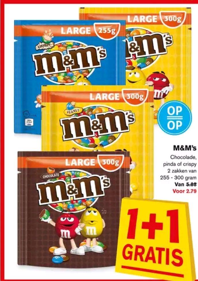 1+1 gratis M&M's bij Hoogvliet
