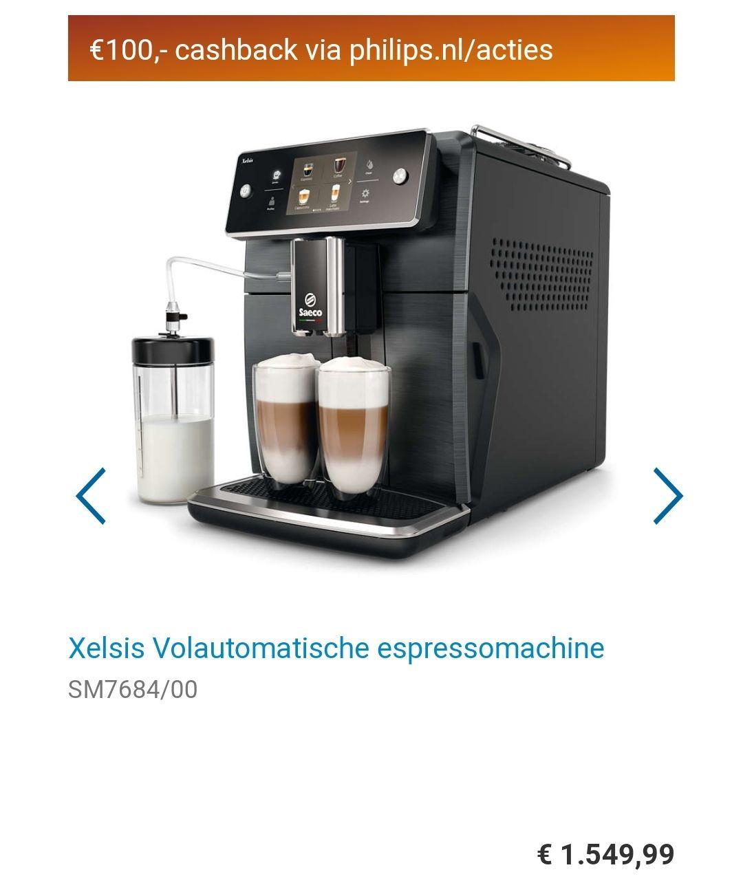Xelsis Volautomatische espressomachine SM7684/00 + 30% korting op heel het assortiment met eurosparen + 100 euro cashback @philips